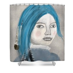 Shower Curtain featuring the painting Blue Jasmine by Bri B
