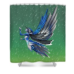 Blue Jay Fairy Shower Curtain