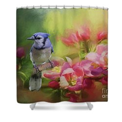 Blue Jay On A Blooming Tree Shower Curtain by Eva Lechner