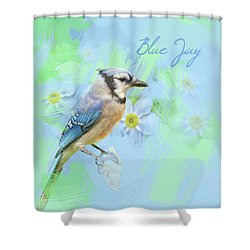 Shower Curtain featuring the photograph Blue Jay Watercolor Photo by Heidi Hermes