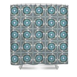 Shower Curtain featuring the digital art Blue Kaleidoscope Swirl by Ellen O'Reilly
