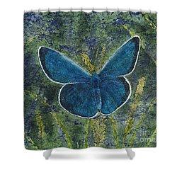 Blue Karner Butterfly Watercolor Batik Shower Curtain