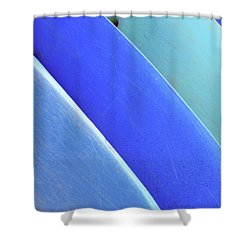 Blue Kayaks Shower Curtain by Brandon Tabiolo - Printscapes
