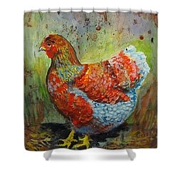 Blue Laced Wyandotte Hen Shower Curtain