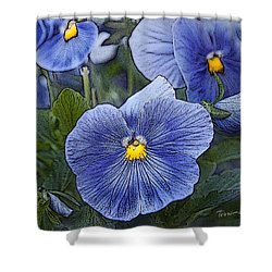 Blue Ladies Shower Curtain by Terri Harper