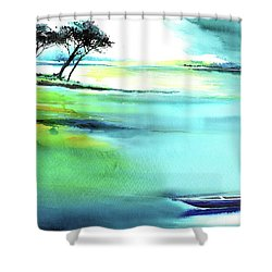Shower Curtain featuring the painting Blue Lagoon by Anil Nene