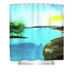 Shower Curtain featuring the painting Blue Lake by Anil Nene