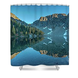 Blue Lake Fall Colors Reflection Shower Curtain