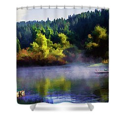 Blue Lake Spring Misty Geese  Shower Curtain