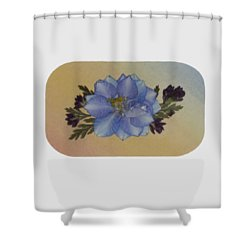 Blue Larkspur And Oregano Pressed Flower Arrangement Shower Curtain