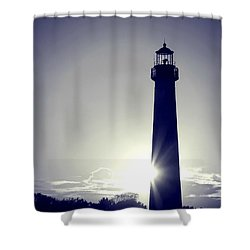 Blue Lighthouse Silhouette Shower Curtain