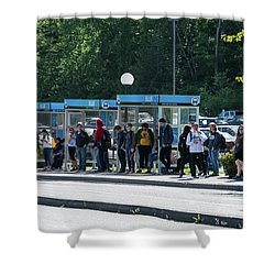Blue Line On Campus Shower Curtain