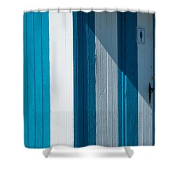 Blue Lined Shower Curtain