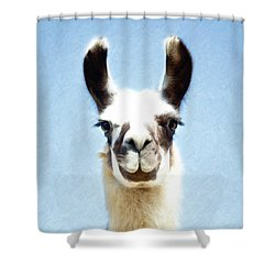 Blue Llama Shower Curtain