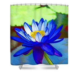 Blue Lotus Flower Shower Curtain by Lanjee Chee
