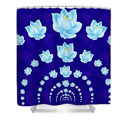 Blue Lotus Tunnel Shower Curtain
