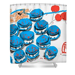 blue Macaroons for golden gal Shower Curtain
