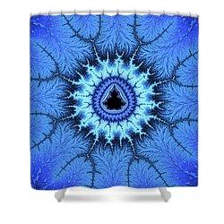 Shower Curtain featuring the digital art Blue Mandelbrot Fractal Relaxing And Balanced by Matthias Hauser