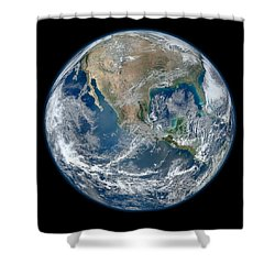 Blue Marble 2012 Planet Earth Shower Curtain by Nikki Marie Smith