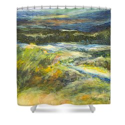 Blue Meadows Shower Curtain by Glory Wood