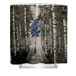 Shower Curtain featuring the painting Blue by Melinda Cummings