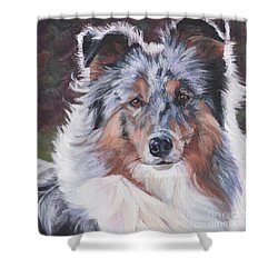 Shower Curtain featuring the painting Blue Merle Sheltie by Lee Ann Shepard