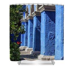 Blue Monastery Shower Curtain