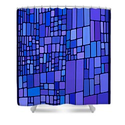 Blue Mondrian Shower Curtain