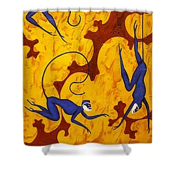 Blue Monkeys No. 45 Shower Curtain