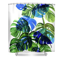 Blue Monstera Shower Curtain by Ana Martinez