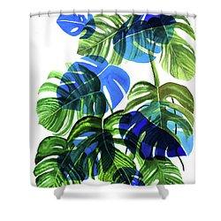 Blue Monstera Shower Curtain by Ana Martinez