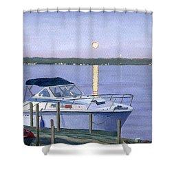 Blue Moon Shower Curtain by Lynne Reichhart