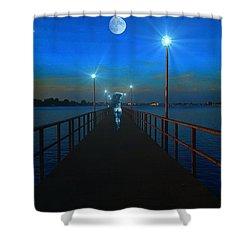 Shower Curtain featuring the digital art Blue Moon by Michael Rucker