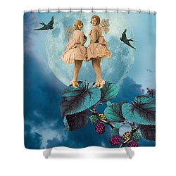 Blue Moon Shower Curtain by Olga Snell