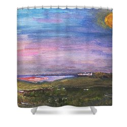 Blue Moon Over The Marsh Shower Curtain