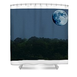 Blue Moon Over Zanesville Water Tower Shower Curtain