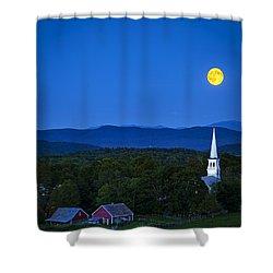 Blue Moon Rising Over Church Steeple Shower Curtain