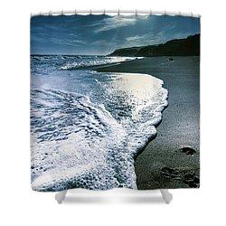 Shower Curtain featuring the photograph Blue Moonlight Beach Landscape by Jorgo Photography - Wall Art Gallery