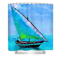 Shower Curtain featuring the painting Blue Morning by Angela Treat Lyon