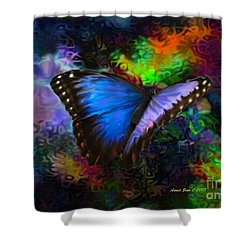 Blue Morpho Butterfly Shower Curtain by Annie Zeno