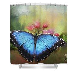 Blue Morpho On A Blossom Shower Curtain by Eva Lechner