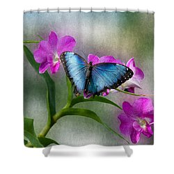 Blue Morpho With Orchids Shower Curtain