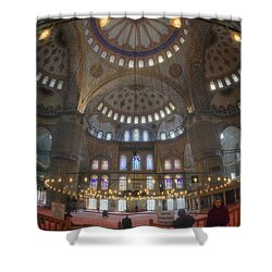 Blue Mosque Interior Shower Curtain by Joan Carroll