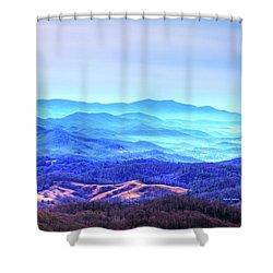 Blue Mountain Mist Shower Curtain by Dale R Carlson