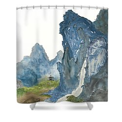 Blue Mountain Morning Shower Curtain