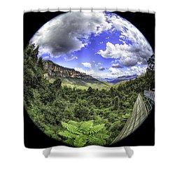 Blue Mountains Fisheye Shower Curtain