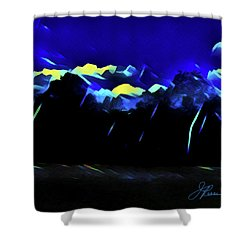 Shower Curtain featuring the painting Blue Mountains by Joan Reese