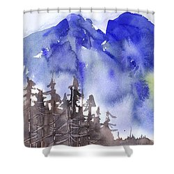 Blue Mountains Shower Curtain by Yolanda Koh