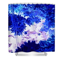 Blue Mums And Water Shower Curtain