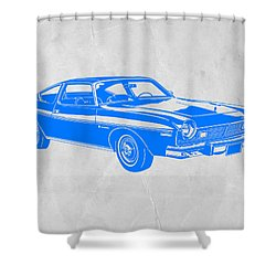 Blue Muscle Car Shower Curtain